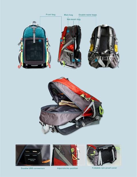 Solar Hiking Backpack Hummingbird Group Ltd New Zealand